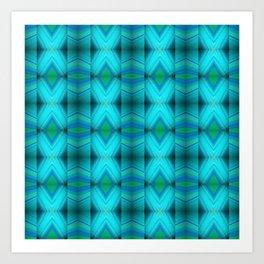 Aqua Blue Green Diamond Pattern Design Art Print