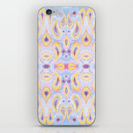 Ikat Paisley Blue and Magenta Pattern iPhone Skin