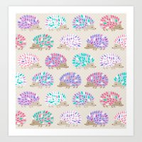 polkadot Art Prints featuring Hedgehog polkadot by Heleen van Buul