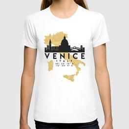VENICE ITALY SILHOUETTE SKYLINE MAP ART T-shirt