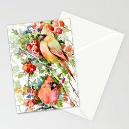 Cardinal Birds and Hawthorn Stationery Cards