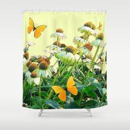 GOLDEN BUTTERFLIES  WHITE CONE FLOWER YELLOW GARDEN Shower Curtain