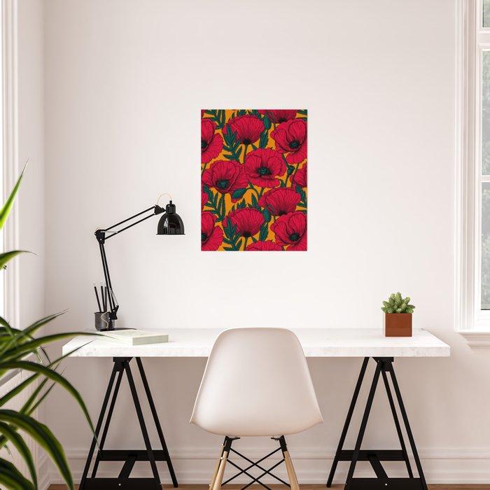 Red poppy garden    Poster