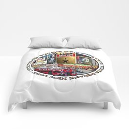 Times Square New York City (badge emblem on white) Comforters