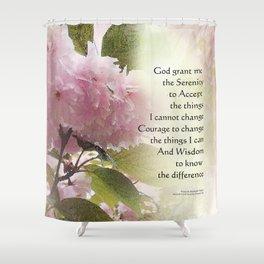 Serenity Prayer Cherry Blossom Glow Shower Curtain