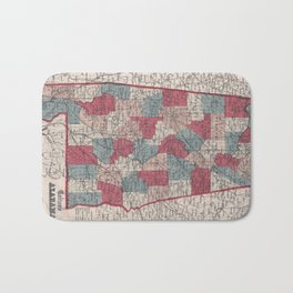 Vintage Alabama County Map (1859) Bath Mat