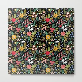 Amazing floral pattern with bright colorful flowers, plants, branches and berries on a black backgro Metal Print