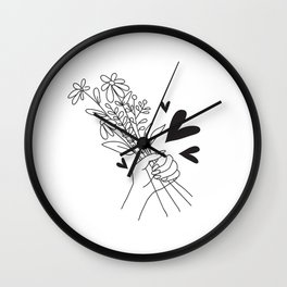 Bouquet of flowers for Valentine's Day Wall Clock