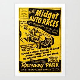 Midget Auto Races, Race poster, vintage poster Art Print