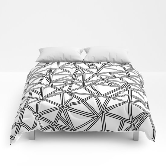 Abstract New Black on White Comforters