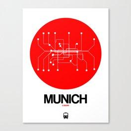 Munich Red Subway Map Canvas Print