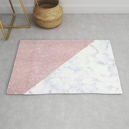 Elegant girly rose gold glitter pink white marble Rug