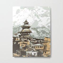 Himalayan Temple in Nepal Metal Print