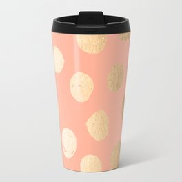 Sweet Life Polka Dots Peach Coral + Orange Sherbet Shimmer Travel Mug