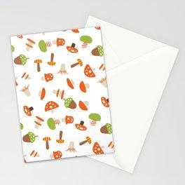 Artistic hand painted orange green autumn mushroom pattern Stationery Cards