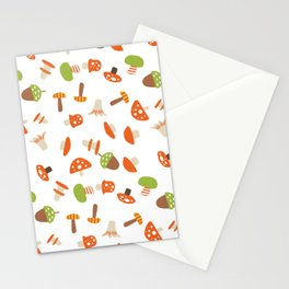 Artistic hand painted orange green autumn mushroom pattern Stationery Cards