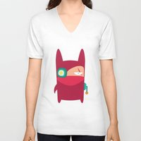ninja V-neck T-shirts featuring Ninja by Joy Pham
