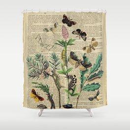Book Art Caterpillar, Moths & Butterflies Shower Curtain