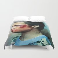 tyler durden Duvet Covers featuring Brad Pitt 'Tyler Durden' The Fight Club by Vlad Rodriguez