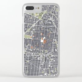 Mexico city map engraving Clear iPhone Case
