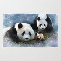pandas Area & Throw Rugs featuring Pandas by Julie Hoddinott
