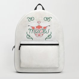 Cat's Meow // Illustration of Smiling Cat with Calligraphy Backpack