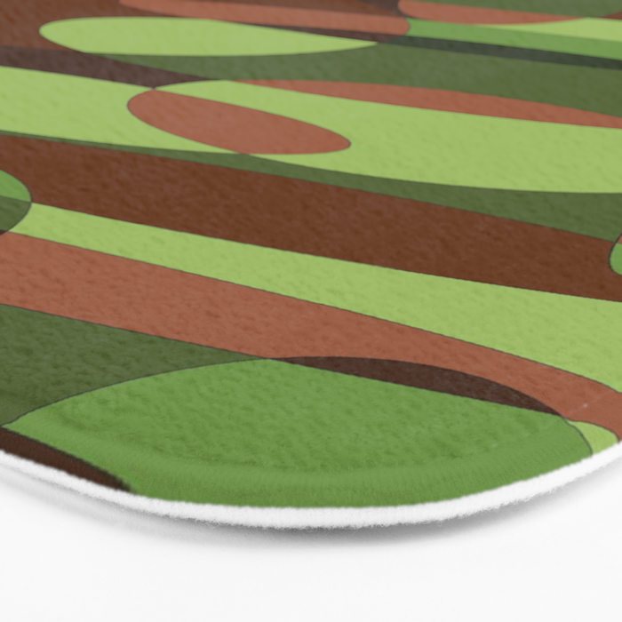 Trendy Green and Brown Camouflage Spheres Bath Mat