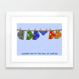 Laundry Day at the Hall of Justice Framed Art Print