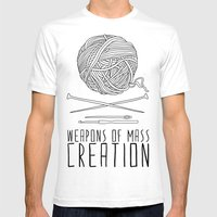Weapons Of Mass Creation - Knitting Mens Fitted Tee White SMALL