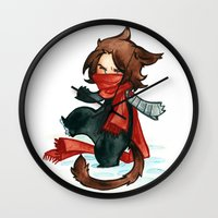 bucky Wall Clocks featuring winter - bucky by noCek