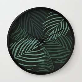 Dark Palm Leaves Wall Clock