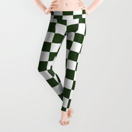 Large Dark Forest Green and White Check Squares Leggings