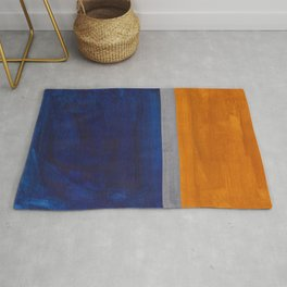 Minimalist Mid Century Rothko Color Field Navy Blue Yellow Ochre Grey Accent Square Colorblock Rug