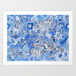 Delft Blue and White Pattern Painting with Lions and Tigers and Birds Kunstdrucke