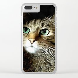 Tabby Cat With Green Eyes Isolated On Black Clear iPhone Case