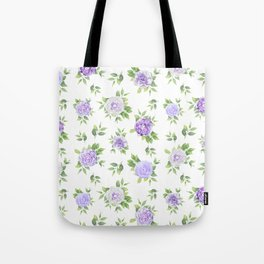 Hand painted lavender violet green watercolor floral Tote Bag
