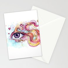 Eye Betta Fish Surreal Animal Hearts Watercolor Stationery Cards
