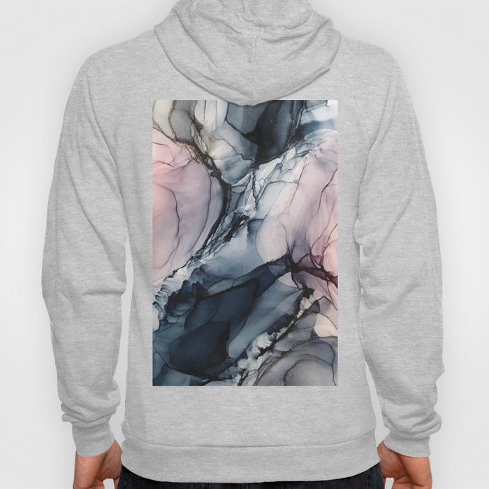 Blush, Navy and Gray Abstract Calm Clouds Hoodie