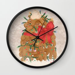 Merry Christmas from Gingerbread Men Wall Clock