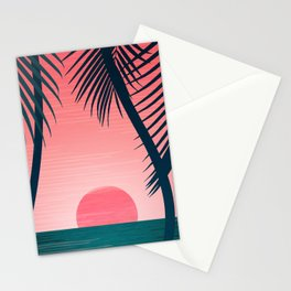 Tropical Sunset Scene - Pink and Emerald Palette Stationery Cards