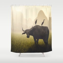 Water Buffalo And Egrets Shower Curtain