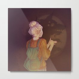 Shadows Lady Metal Print