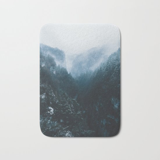 Foggy Forest Mountain Valley - Landscape Photography Bath Mat