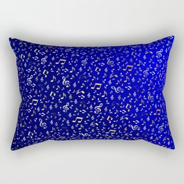 silver,gold,metall music notes in blue Rectangular Pillow