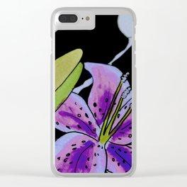 Purple tie dye flower Clear iPhone Case