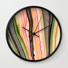 Watercolor strokes on wood III Wall Clock