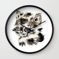 kitty Wall Clocks featuring Kitty by quackso