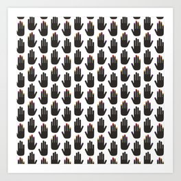 Black & White Pop Hands Art Print
