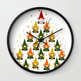 Merry Gnoming Christmas Wall Clock