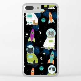 Space Cats pet portraits cute cat gifts cat lady outer space cadet rockets Clear iPhone Case